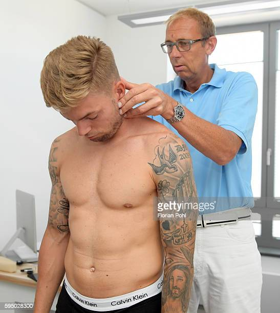 team doctor Dr med Ulrich Schleicher examined Alexander Esswein of Hertha BSC during the check up bei team doctor Dr med Ulrich Schleicher on august...