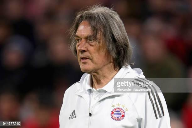 Team doctor HansWilhelm MuellerWohlfahrt of Bayern Muenchen looks on during the UEFA Champions League Quarter Final Second Leg match between Bayern...