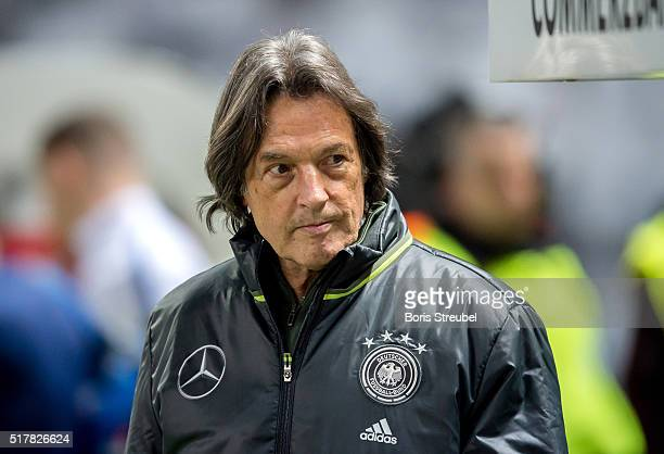 Team doctor HansWilhelm MuellerWohlfahrt of Germany looks on prior to the International Friendly match between Germany and England at Olympiastadion...