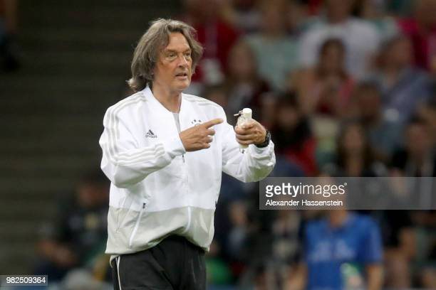 Team doctor HansWilhelm MuellerWohlfahrt of Germany reacts during the 2018 FIFA World Cup Russia group F match between Germany and Sweden at Fisht...