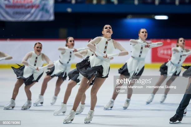 Team Dream Edges Junior of Finland compete in the Free Skating during the World Junior Synchronized Skating Championships at Dom Sportova on March 17...