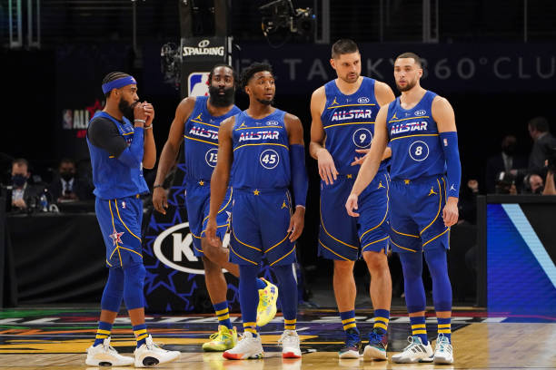 Team Durant looks on during the 70th NBA All Star Game as part of 2021 NBA All Star Weekend on March 7, 2021 at State Farm Arena in Atlanta, Georgia....