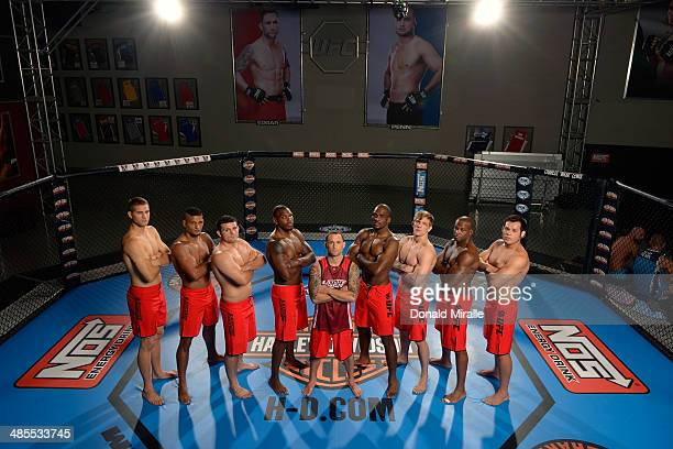 Team Edgar poses for a group photo inside the Octagon during filming of season nineteen of The Ultimate Fighter on October 18, 2013 in Las Vegas,...