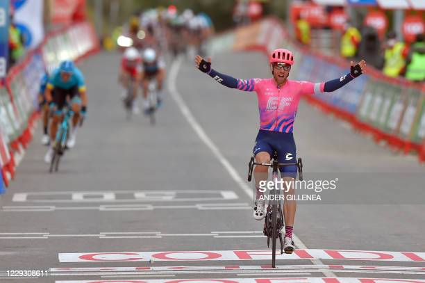 Team Education First rider Canada's Michael Woods celebrates as he crosses the finish-line of the 7th stage of the 2020 La Vuelta cycling tour of...