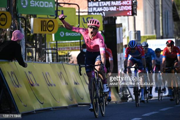 Team Education First rider Denmark's Magnus Nielsen celebrates as he crosses the finish line to win the 8th stage of the 79th Paris - Nice cycling...
