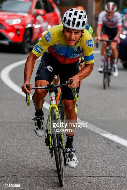 Team Education First rider Ecuador's Jonathan Caicedo leads the race in his breakaway ascent of Etna on October 5, 2020 during the 3rd stage of the...