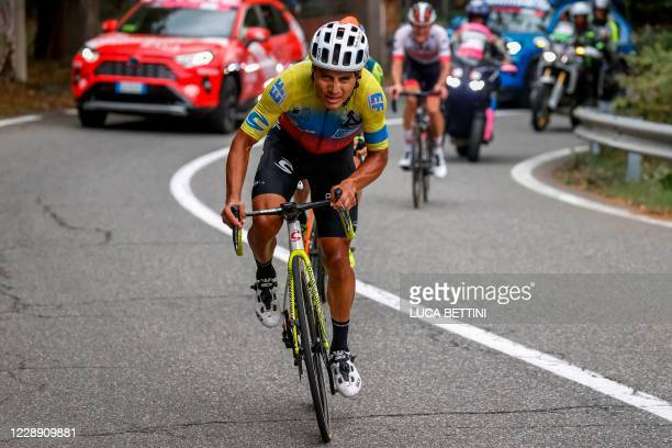 Team Education First rider Ecuador's Jonathan Caicedo rides in the ascent of the Etna on October 5, 2020 on his way to win the 3rd stage of the Giro...