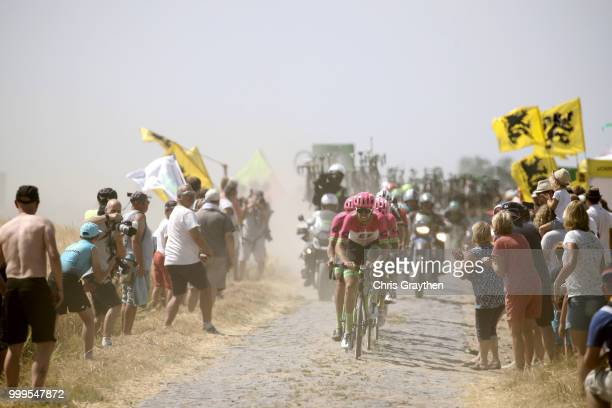Team EF Education First Drapac P/B Cannondale of The United States / Bourghelles À Wannehain Cobbles Sector 3 / Pave / during the 105th Tour de...