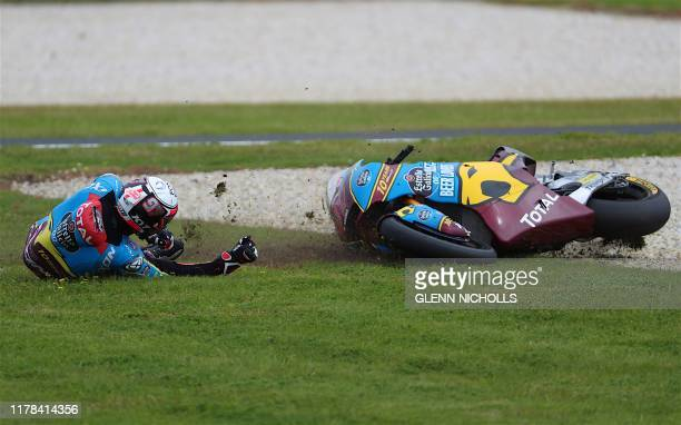 TOPSHOT Team EG 00 Marc VDS Moto2 rider Alex Marquez of Spain crashes during the Moto2 race at the Australian motorcycle Grand Prix at Phillip Island...
