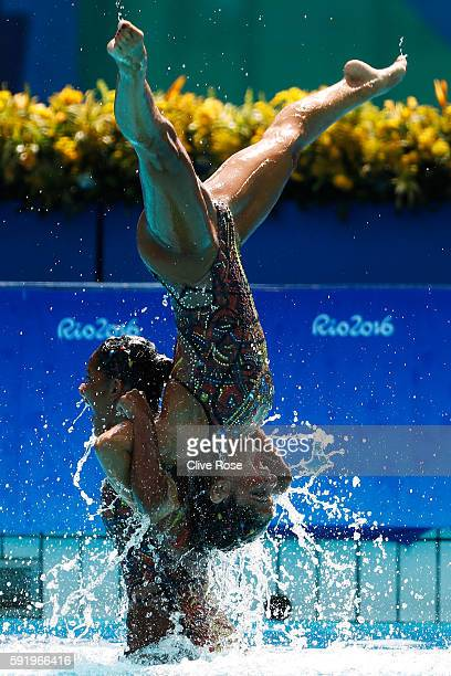 Team Egypt competes in the Synchronised Swimming Teams Free Routine on Day 14 of the Rio 2016 Olympic Games at the Maria Lenk Aquatics Centre on...