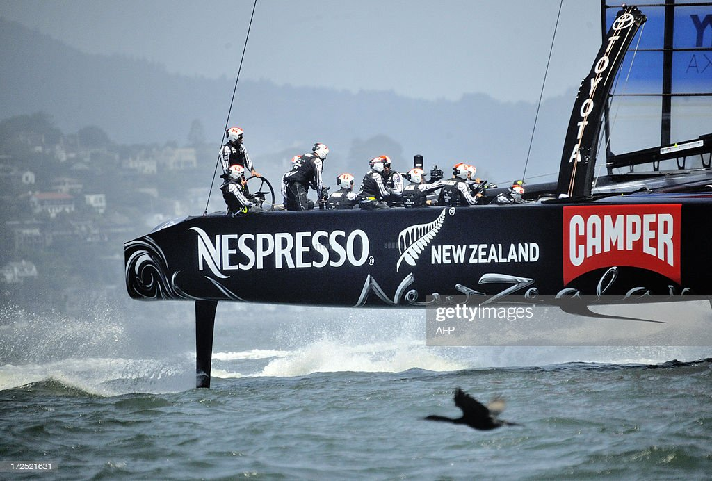 Team Emirates sails their AC-72 Racing Yacht Tower during a training session for the America's Cup competition in San Francisco on July 2, 2013. Opening ceremonies begin on July 4. AFP PHOTO/Josh Edelson