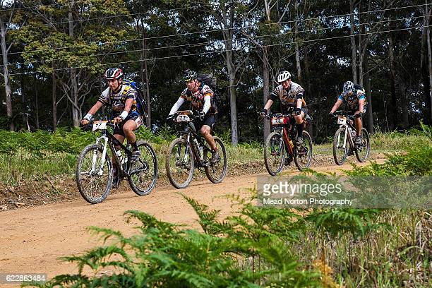 Team EnduranceTiger Adventure from the UK biking to the next checkpoint during the Adventure Race World Championship on November 11 2016 in...