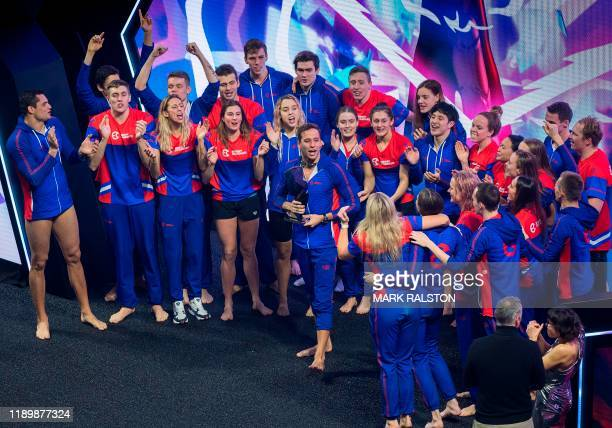 Team Energy Standard celebrates after winning the International Swimming League Championship Finale on overall points at the Mandalay Bay Hotel in...