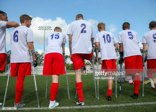 Team England are honored while their national anthem plays during the Lone Star Invitational Amputee Soccer tournament on June 2 2018 at Gosling...