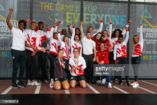 Team England athletes pose during the Birmingham 2022 Commonwealth Games celebrates threeyear countdown to 'The Games For Everyone' at Centenary...