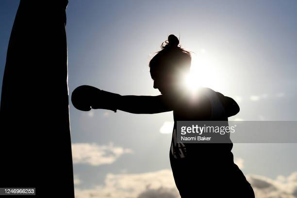 Team England Beach Volleyball Player Jessica Grimson trains at an outdoor gym set up on June 05 2020 in Bournemouth Dorset