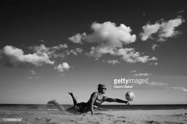 Team England Beach Volleyball Player Jessica Grimson trains at Southbourne Beach on June 05 2020 in Bournemouth Dorset