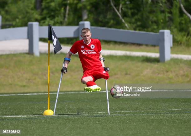 Team England Ben Houghton takes a corner kick during the Lone Star Invitational Amputee Soccer tournament on June 2 2018 at Gosling Sports Fields in...