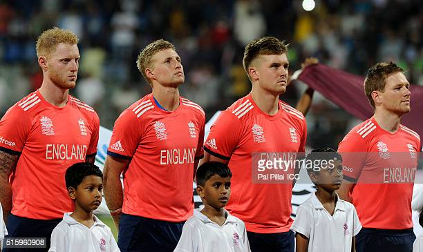 Team England during the national anthem before the start of the ICC World Twenty20 India 2016 match between West Indies and England at the Wankhede...