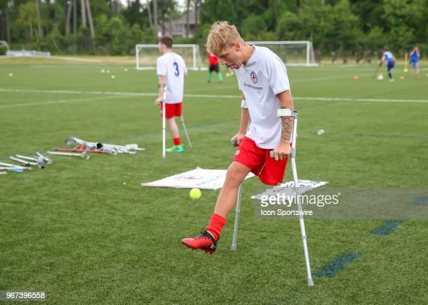 Team England Jamie Tregaskiss warms up Hacky sack style with a tennis ball before the Lone Star Invitational Amputee Soccer tournament on June 2 2018...