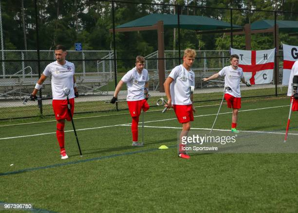 Team England players warm up during the Lone Star Invitational Amputee Soccer tournament on June 2 2018 at Gosling Sports Fields in The Woodlands...
