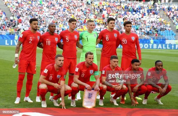Team England poses before the 2018 FIFA World Cup Russia Quarter Final match between Sweden and England at Samara Arena on July 7 2018 in Samara...