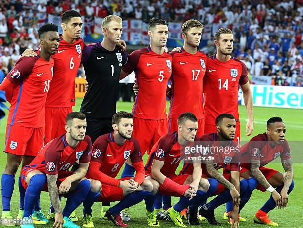 Team England poses before the UEFA EURO 2016 Group B match between Slovakia and England at Stade GeoffroyGuichard on June 20 2016 in SaintEtienne...