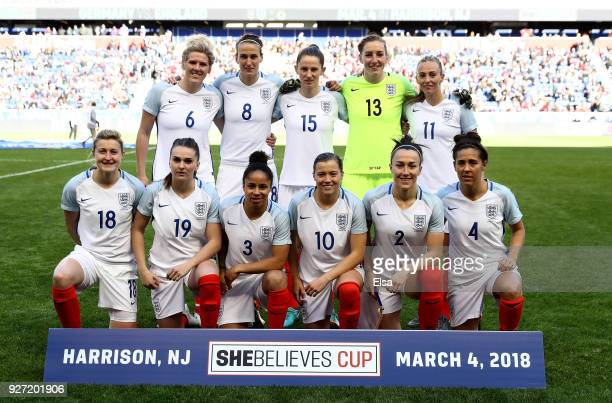 Team England poses for a picture before the game against Germany during the SheBelieves Cup at Red Bull Arena on March 4 2018 in Harrison New Jersey
