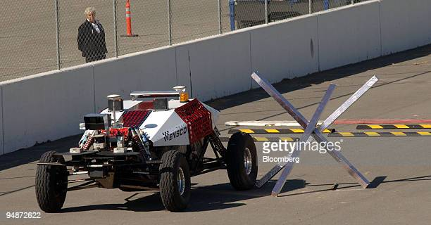 Team ENSCO's entry DEXTER or Deployable Extreme Terrain Enabled Robot navigates an obstacle during the National Qualification Event for the Defense...