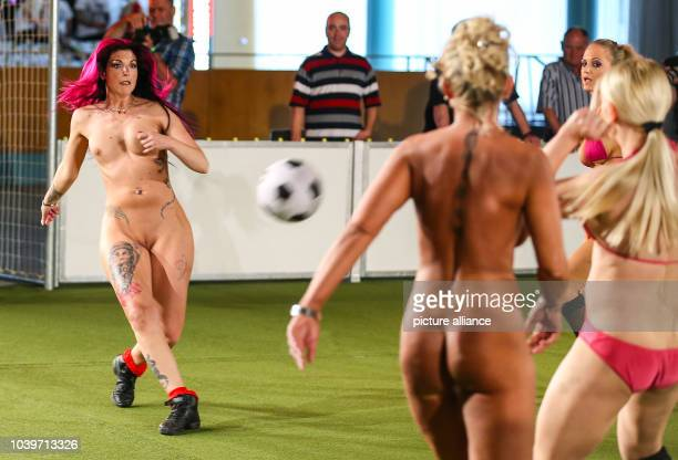 Team Erotika Deutschland plays against Team Schweden Blondes at Funkturmpalais in Berlin Germany 08 June 2013 The 'First erotic women's soccer...