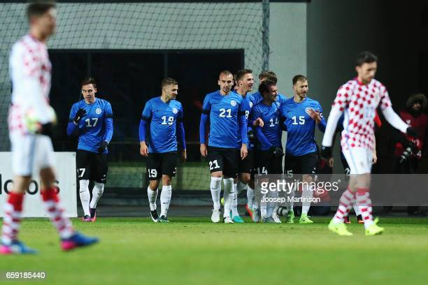Team Estonia celebrates a goal by Sergei Zenjov during international friendly between Estonia and Croatia at A le Coq Arena on March 28 2017 in...