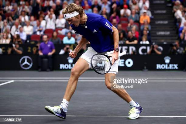 Team Europe Alexander Zverev of Germany celebrates a point against Team World Kevin Anderson of South Africa during their Men's Singles match on day...