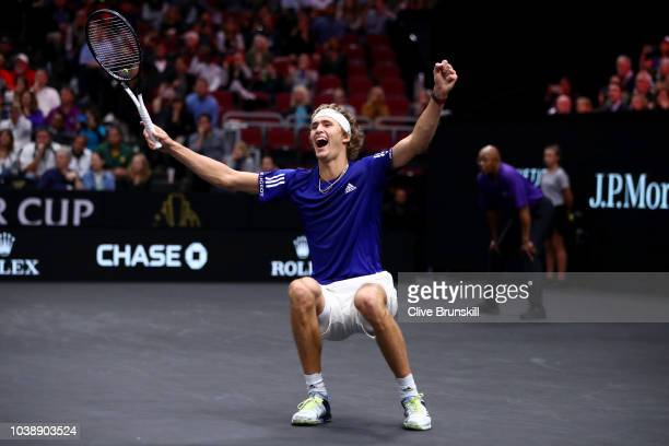Team Europe Alexander Zverev of Germany celebrates after defeating Team World Kevin Anderson of South Africa in their Men's Singles match on day...