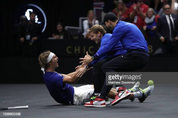 Team Europe Alexander Zverev of Germany celebrates with teammates Team Europe David Goffin of Belgium and Team Europe Grigor Dimitrov of of Bulgaria...