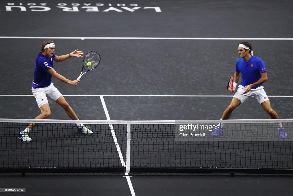 Federer Zverev v Isner Sock : Nachrichtenfoto