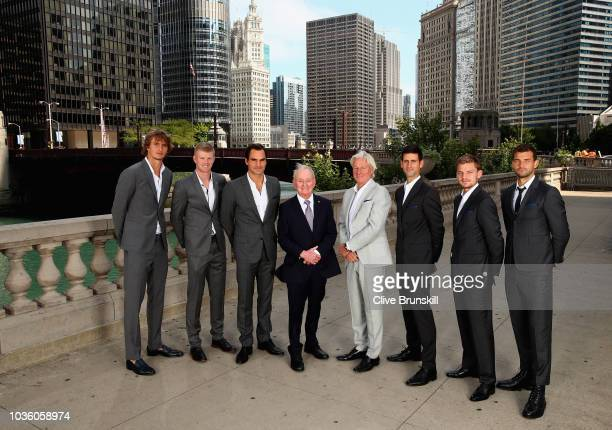 Team Europe Alexander ZverevKyle EdmundRoger FedererRod Laver team captain Bjorn Borg Novak DjokovicDavid Goffin and Grigor Dimitrov pose for their...