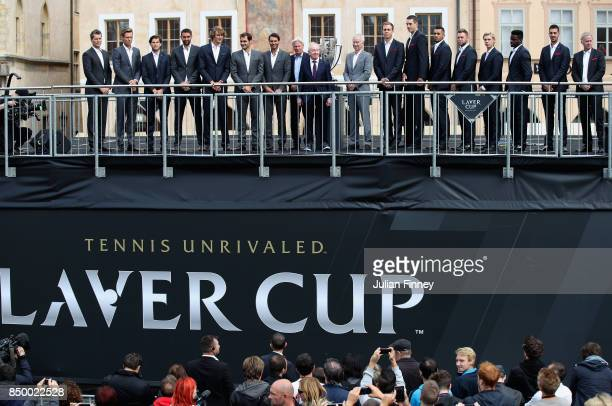 Team Europe and Team World greet the fans ahead of the Laver Cup on September 20 2017 in Prague Czech Republic The Laver Cup consists of six European...