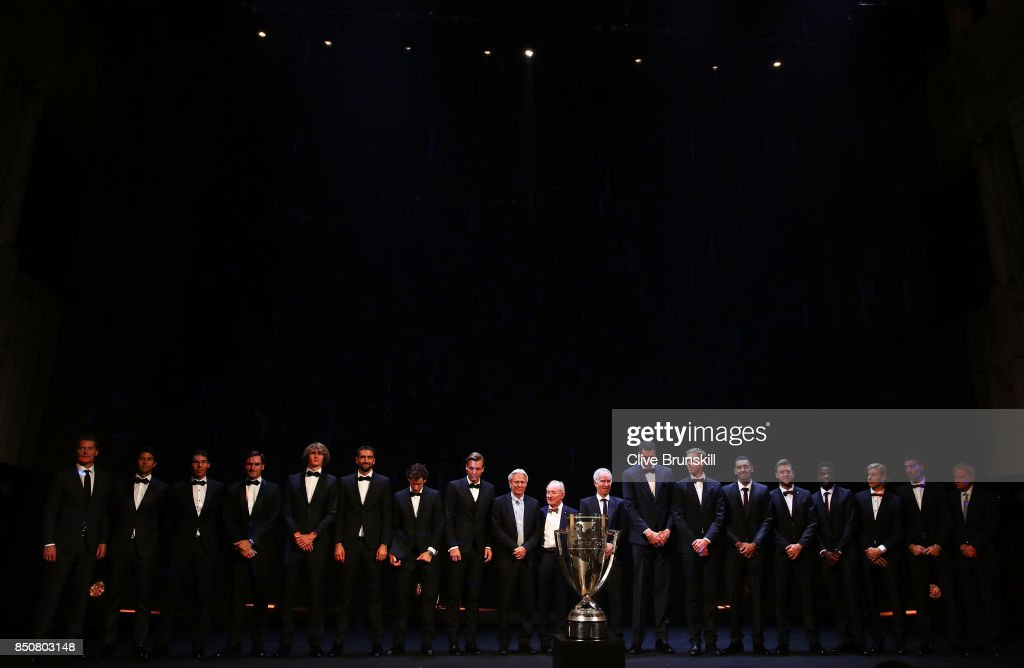 Team Europe and Team World line up on stage with John Mcenroe, Bjorn Borg and Rod Laver at the Laver Cup Gala dinner ahead of the Laver Cup on September 21, 2017 in Prague, Czech Republic. The Laver Cup consists of six European players competing against their counterparts from the rest of the World. Europe will be captained by Bjorn Borg and John McEnroe will captain the Rest of the World team. The event runs from 22-24 September.
