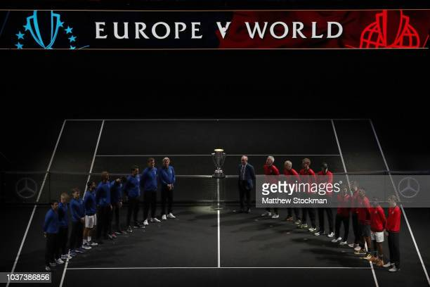Team Europe and Team World pose with former tennis player Rod Laver of Australia on day one of the 2018 Laver Cup at the United Center on September...
