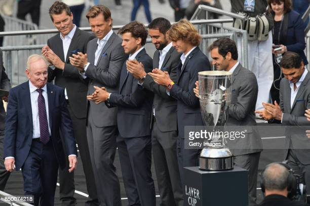 Team Europe applaude the arrival of Rod Laver ahead of the Laver Cup on September 20 2017 in Prague Czech Republic The Laver Cup consists of six...