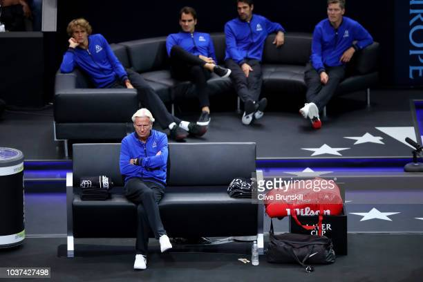 Team Europe Captain Bjorn Borg of Sweden looks on during the Men's Singles match on day one of the 2018 Laver Cup at the United Center on September...