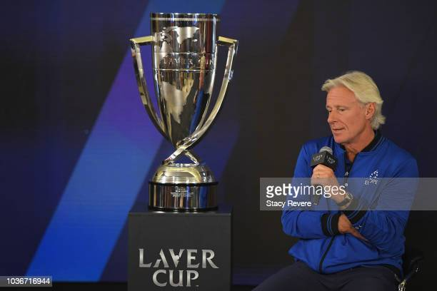 Team Europe Captain Bjorn Borg of Sweden speaks during a press conference prior to the Laver Cup at the United Center on September 20 2018 in Chicago...