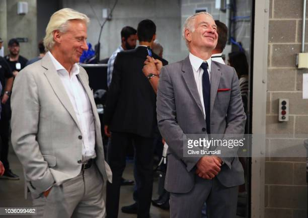 Team Europe captain Bjorn Borg talks with Team Rest of the World captain John McEnroe backstage at the official welcome ceremony prior to the Laver...