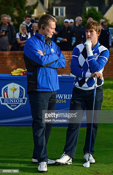 Team Europe Captain Stuart Wilson and Bradley Neil of Team Europe speaking on the first tee during the final day Singles matches at the 2014 Junior...