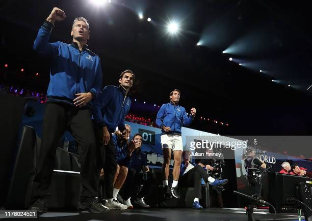 Team Europe celebrate court-side in the singles match between Jack Sock of Team World and Fabio Fognini of Team Europe during Day One of the Laver...