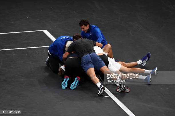 Team Europe celebrate Laver Cup point in the final match of the tournament after defeating Milos Raonic of Team World during Day Three of the Laver...