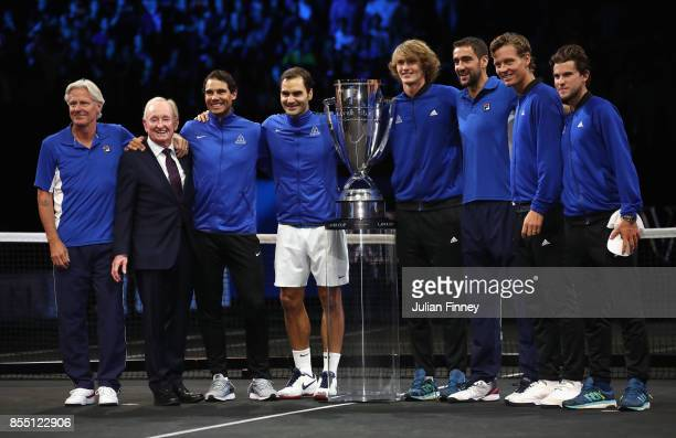 Team Europe celebrate their win over Team World during the final day of the Laver Cup at the O2 Arena on September 24 2017 in Prague Czech Republic...