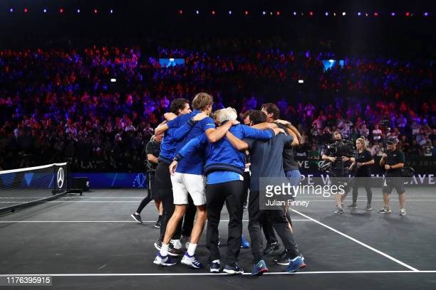 Team Europe celebrate winning the Laver Cup after the final match of the tournament during Day Three of the Laver Cup 2019 at Palexpo on September...