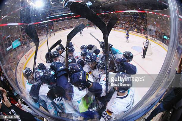 Team Europe celebrates a 32 overtime victory over Team Sweden at the semifinal game during the World Cup of Hockey tournament at the Air Canada...