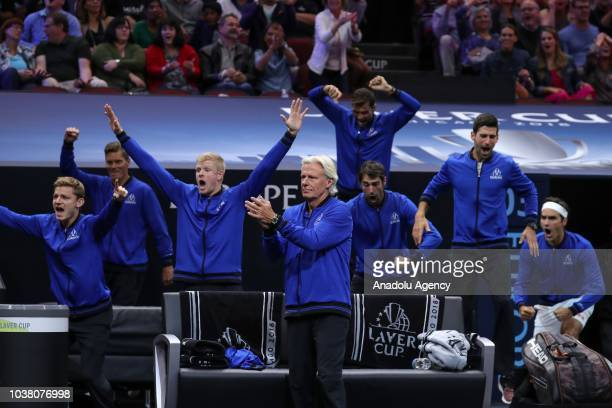 Team Europe celebrates Alexander Zverev's victory after defeating John Isner of the Team World at the end of the Men's Singles match on day two of...